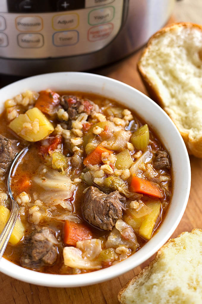 Beef Barley Vegetable Soup  Instant Pot Beef Barley Ve able Soup