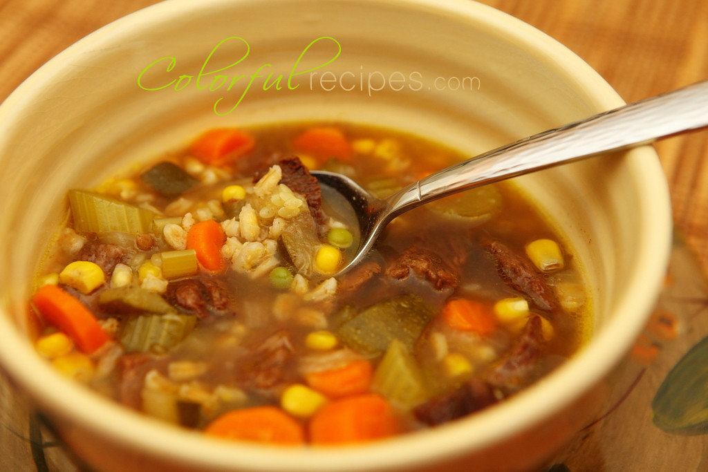 Beef Barley Vegetable Soup  Ve able Beef Barley Soup Colorful Recipes