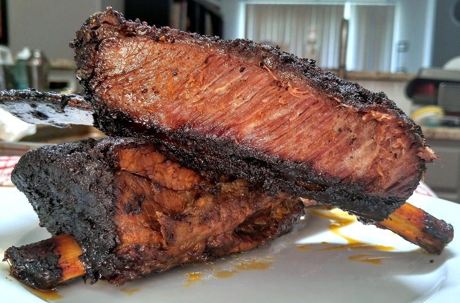 Beef Short Ribs Smoked  Tejas beef short ribs smoked over hickory 9 hours later
