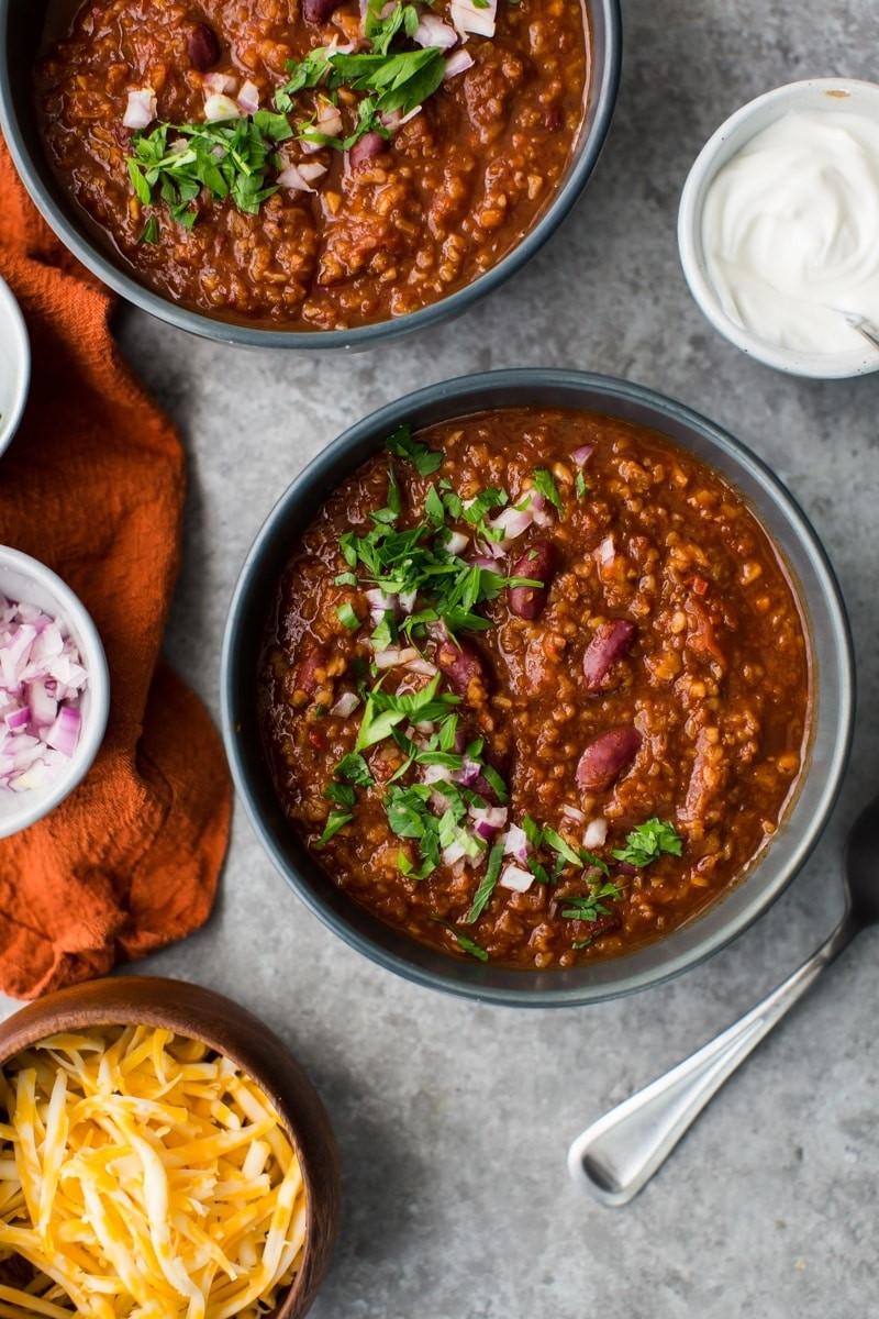 Best Vegetarian Chili  Bulgur Ve arian Chili with Kidney Beans