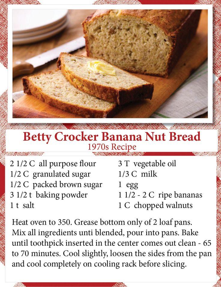 Betty Crocker Banana Bread  banana nut bread recipe 2 bananas