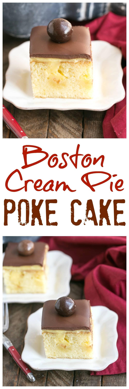 Boston Cream Pie Poke Cake  Boston Cream Pie Poke Cake TwoSweetiePies That Skinny