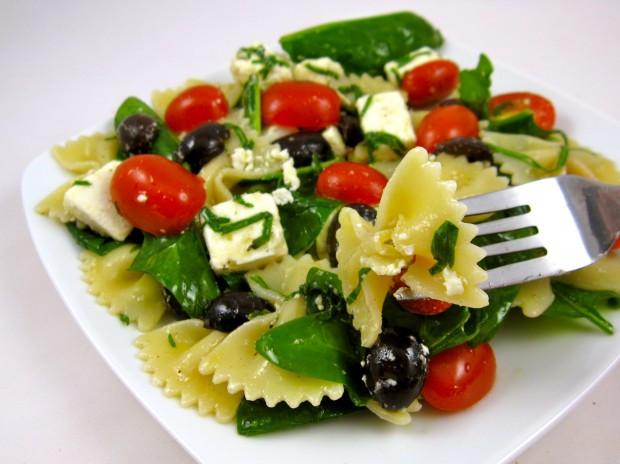 Bowtie Pasta Salad  Greek Bow Tie Pasta Salad with Basil Ribbons