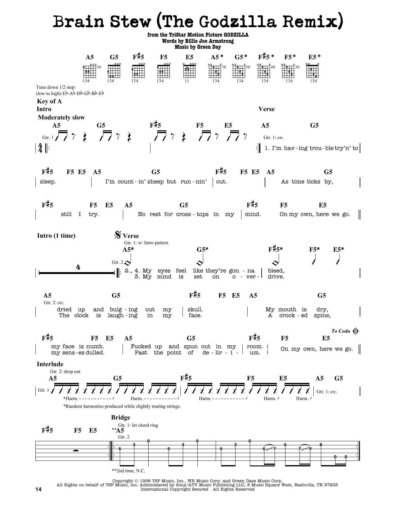 Brain Stew Chords  Brain Stew The Godzilla Remix by Green Day Guitar Lead