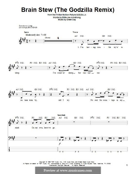 Brain Stew Chords  Brain Stew The Godzilla Remix Green Day by B J