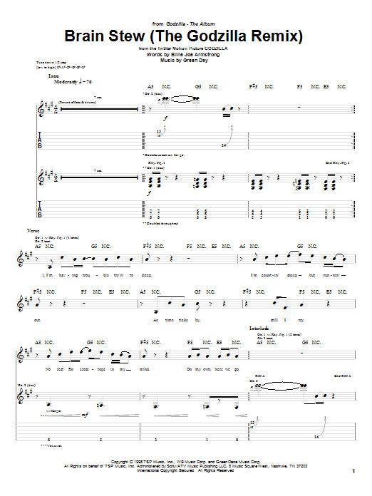Brain Stew Chords  Brain Stew The Godzilla Remix Guitar Tab by Green Day