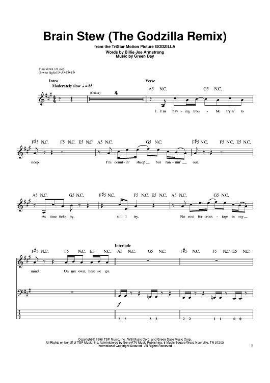 Brain Stew Chords  Brain Stew The Godzilla Remix Sheet Music For Piano