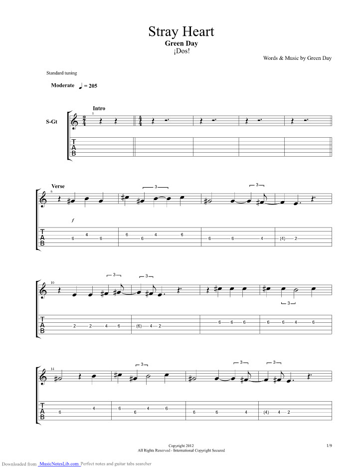 Brain Stew Chords  Stray Heart guitar pro tab by Green Day musicnoteslib