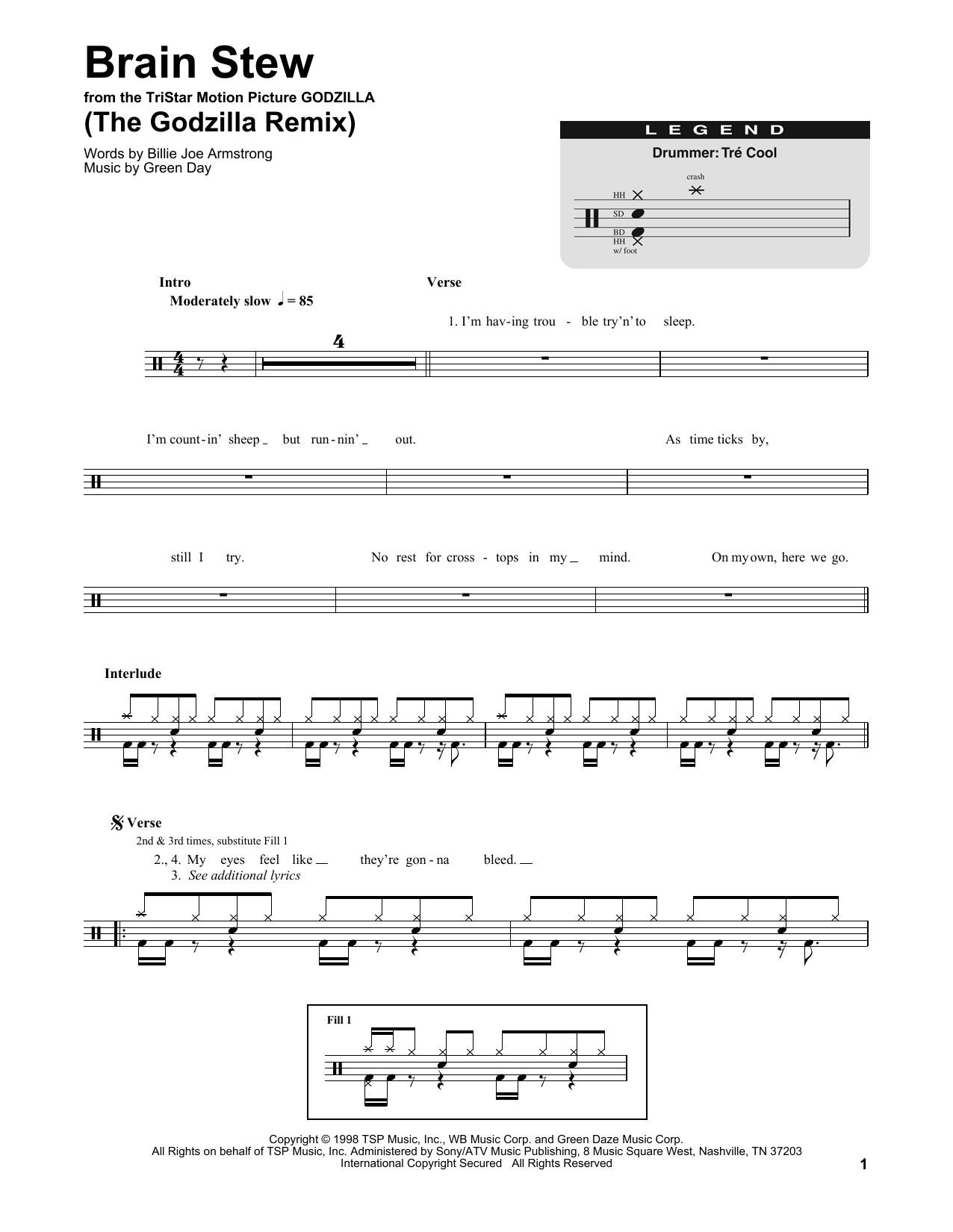 Brain Stew Chords  Brain Stew The Godzilla Remix sheet music by Green Day