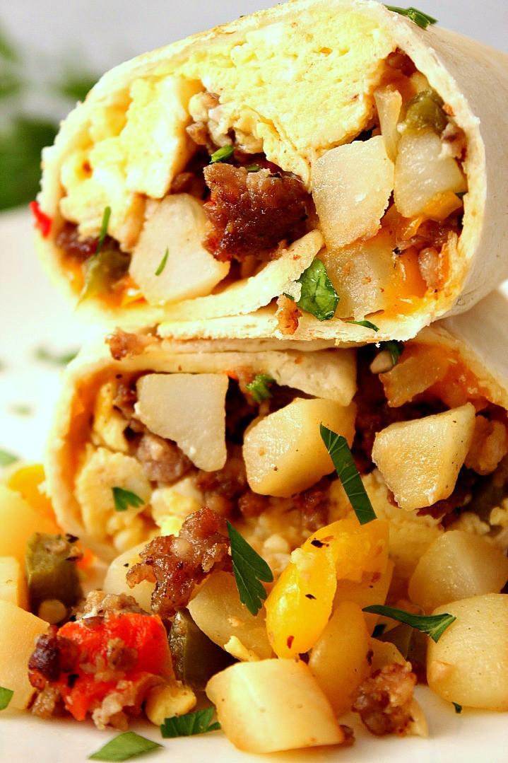 Breakfast Burrito Recipe Easy  Freezer Breakfast Burritos Recipe Crunchy Creamy Sweet