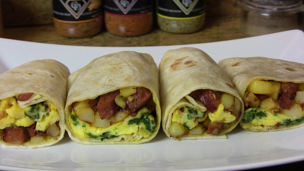 Breakfast Burrito Recipe Easy  Potato Egg & Smoked Sausage Breakfast Burrito An Easy