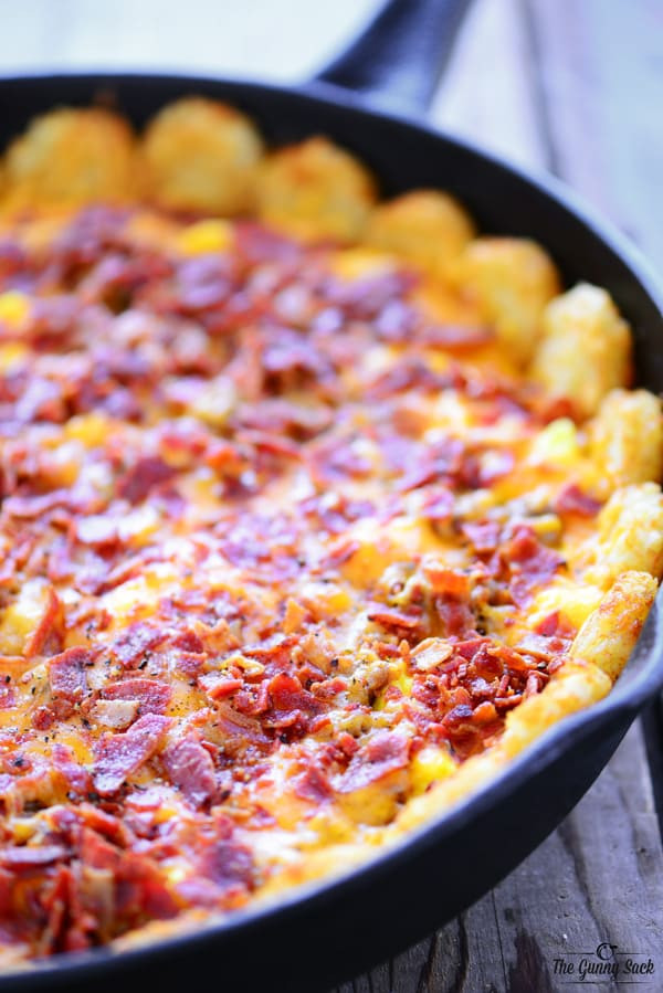 Breakfast Casserole With Tater Tots  Tater Tot Breakfast Pizza with Video The Gunny Sack