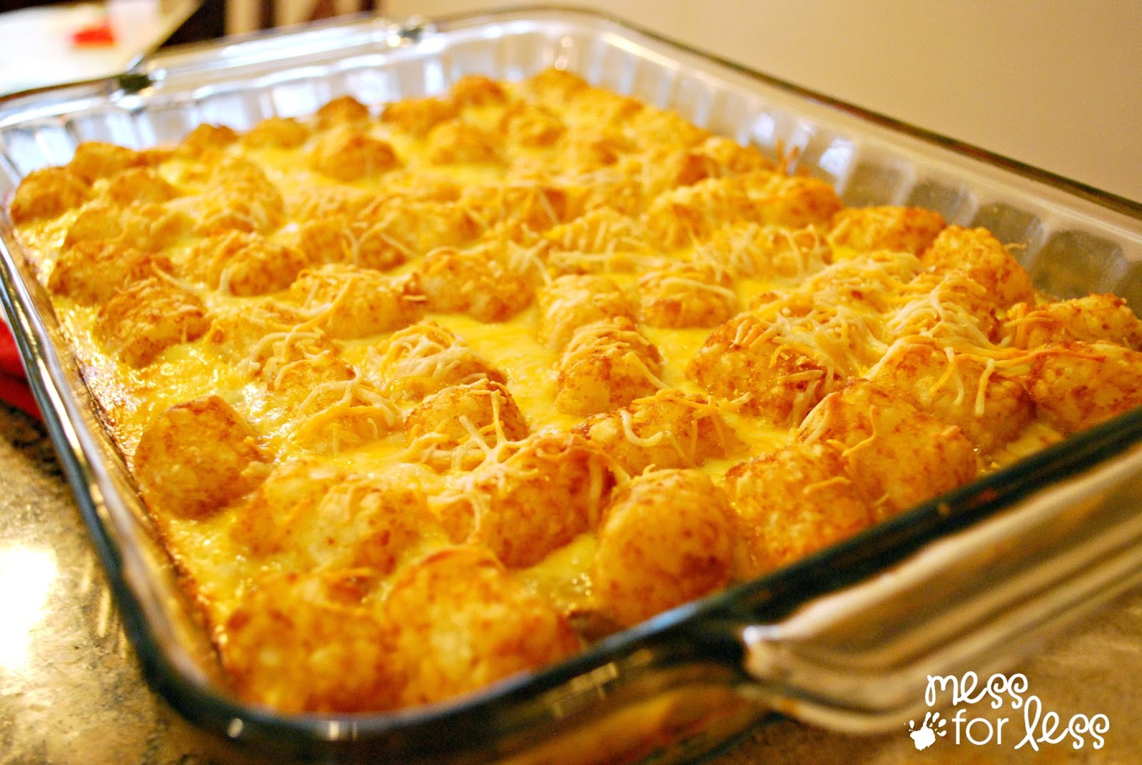 Breakfast Casserole With Tater Tots  Tater Tot Casserole Food Fun Friday Mess for Less