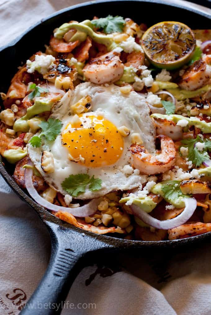 Breakfast Chilaquiles Recipe  Shrimp and Grilled Corn Chilaquiles Recipe