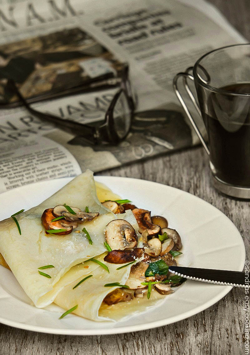Breakfast Crepe Recipe  Savory Crepes with Sauteed Mushrooms and Scallions