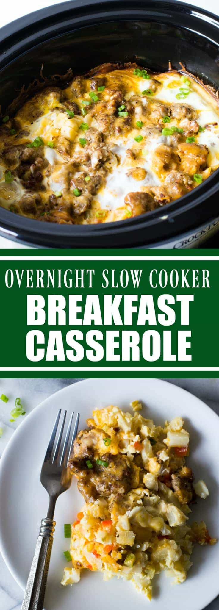 Breakfast Crockpot Recipe  Slow Cooker Overnight Breakfast Casserole House of Yumm