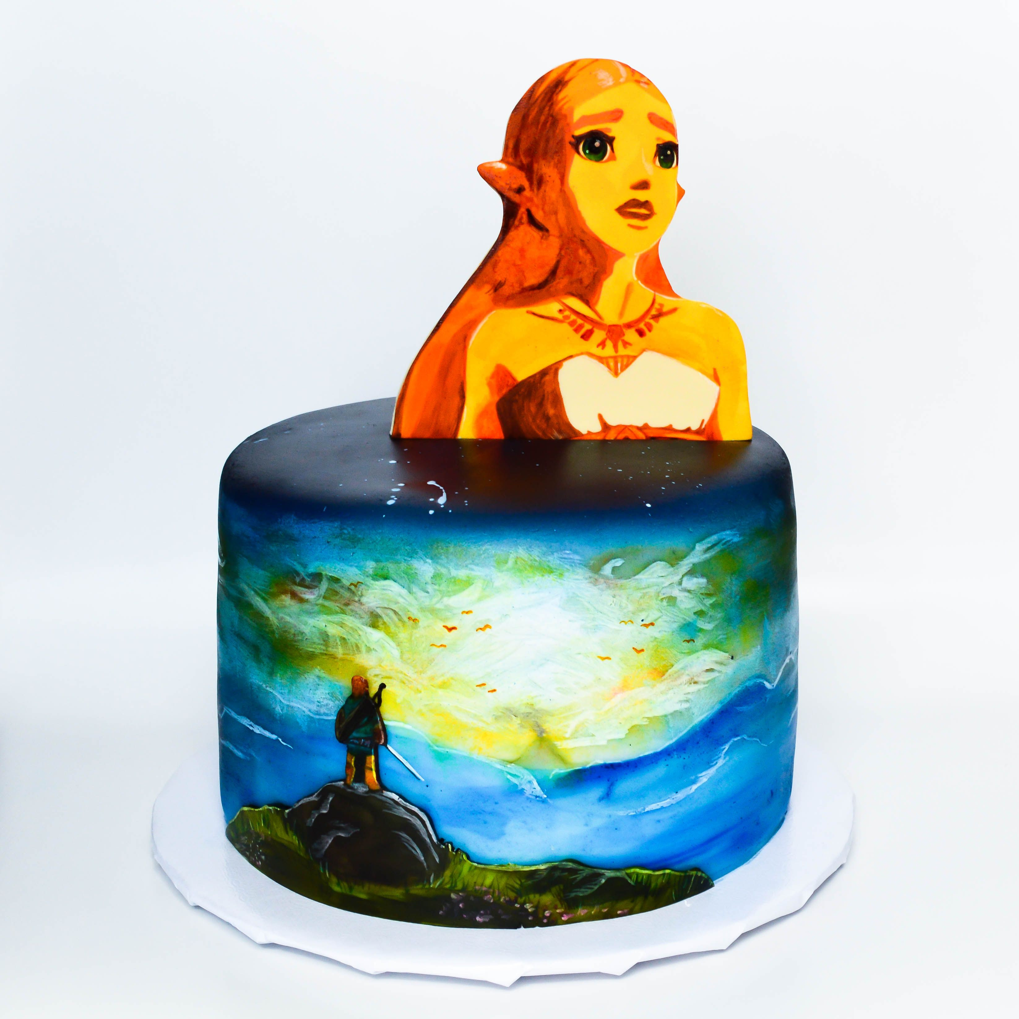 Breath Of The Wild Cake Recipe  hand painted zelda breath of the wild themed cake