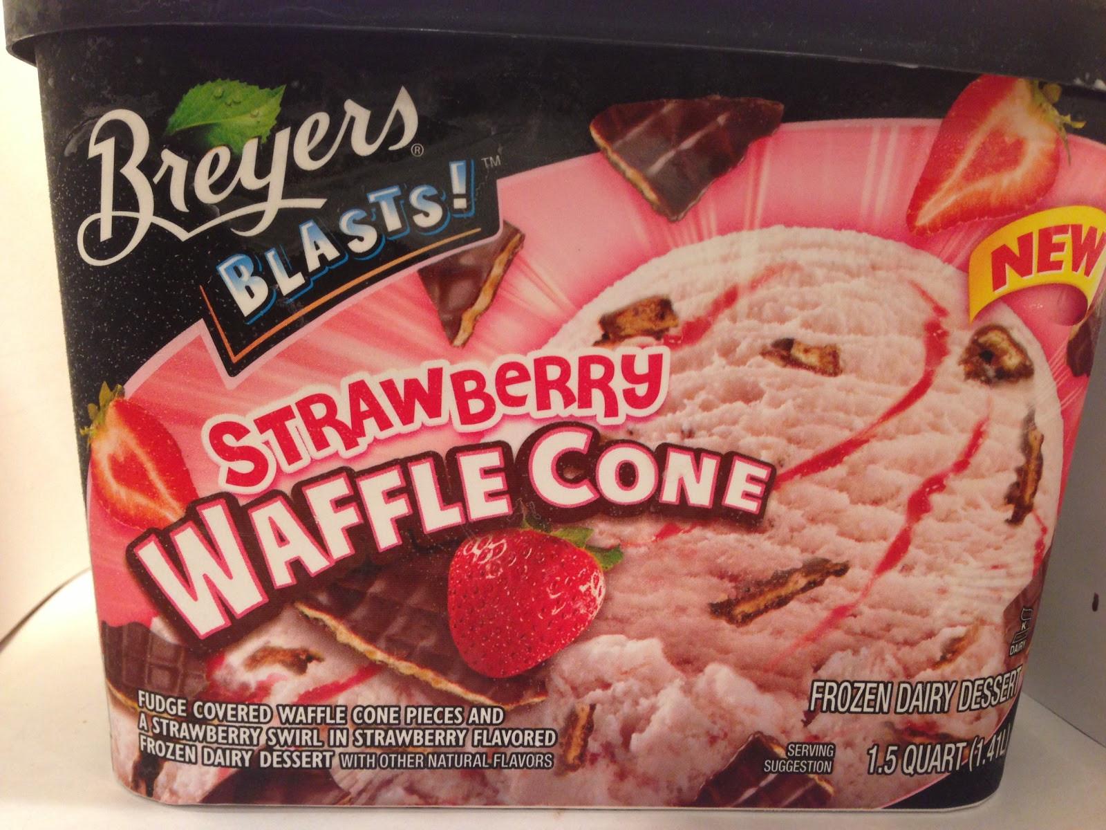 Breyers Frozen Dairy Dessert  Crazy Food Dude Review Breyers Blasts Strawberry Waffle