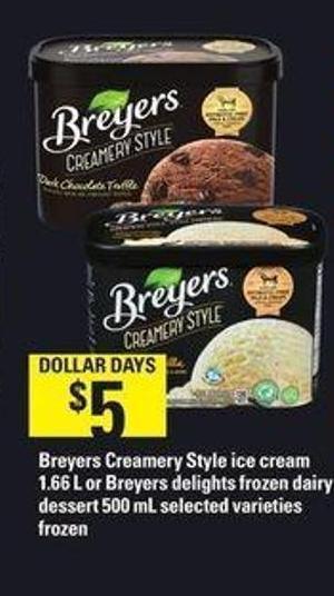 Breyers Frozen Dairy Dessert  Breyers Creamery Style Ice Cream 1 66 on sale