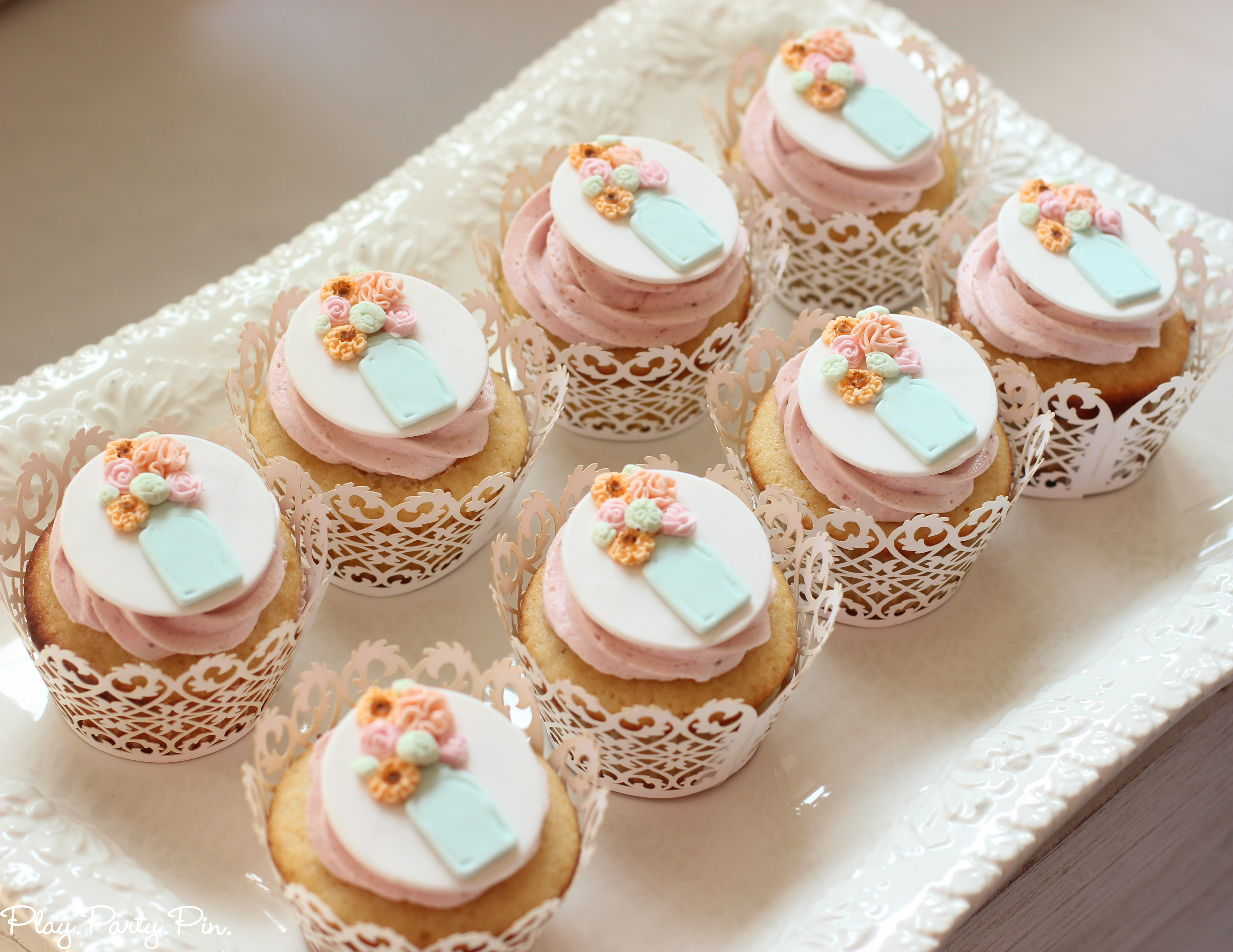 Bridal Shower Cupcakes  Blushing Bride Bridal Shower Play Party Plan
