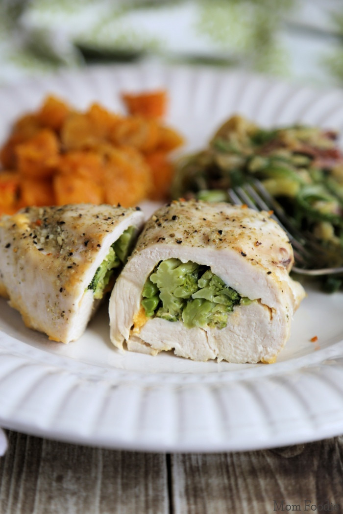 Broccoli Stuffed Chicken  Broccoli Cheese Stuffed Chicken with Butternut Squash and