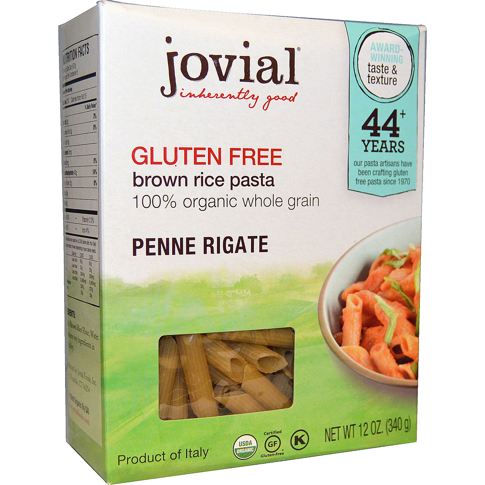 Brown Rice Brands  Jovial Brown Rice Pasta Penne Rigate Organic 12 oz