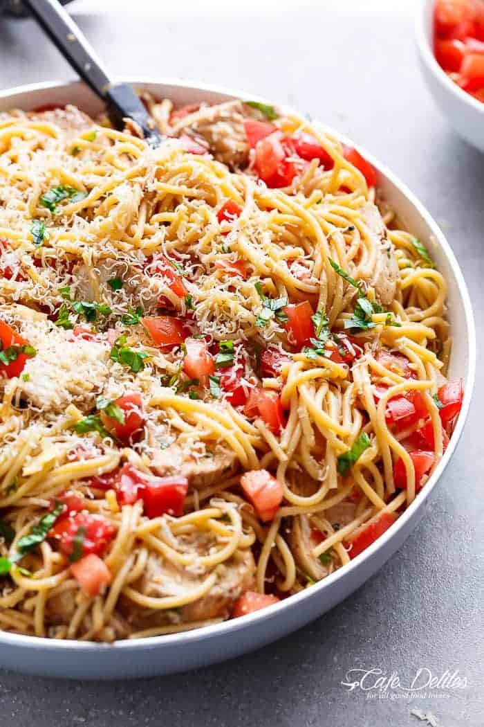 Bruschetta Chicken Pasta  Bruschetta Chicken Pasta Salad Cafe Delites