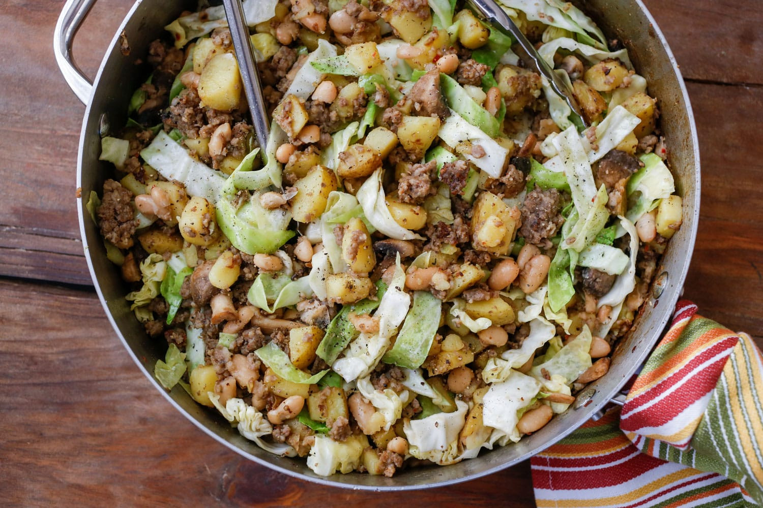 Cabbage And Potatoes  Sausage Hash with Cabbage Potatoes and Beans