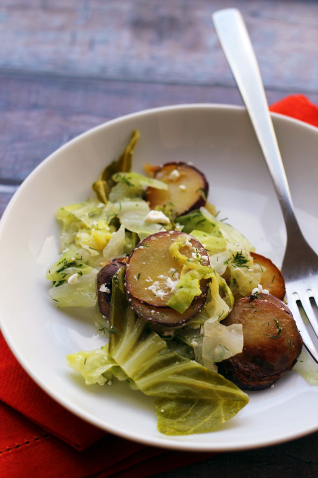 Cabbage And Potatoes  Braised Summer Cabbage with Fried Potatoes Feta and Dill
