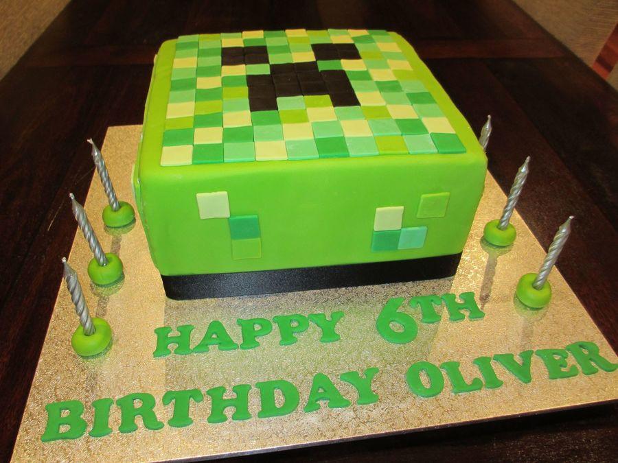 Cake Recipe Minecraft  Minecraft Creeper 6Th Birthday Cake CakeCentral