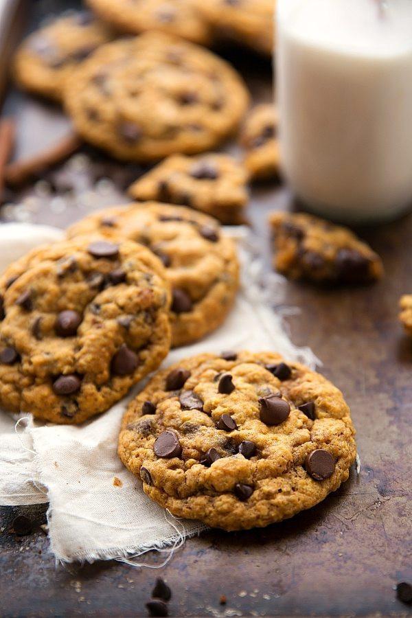 Cakey Chocolate Chip Cookies  Pumpkin Oatmeal Chocolate Chip Cookies Non Cakey Version