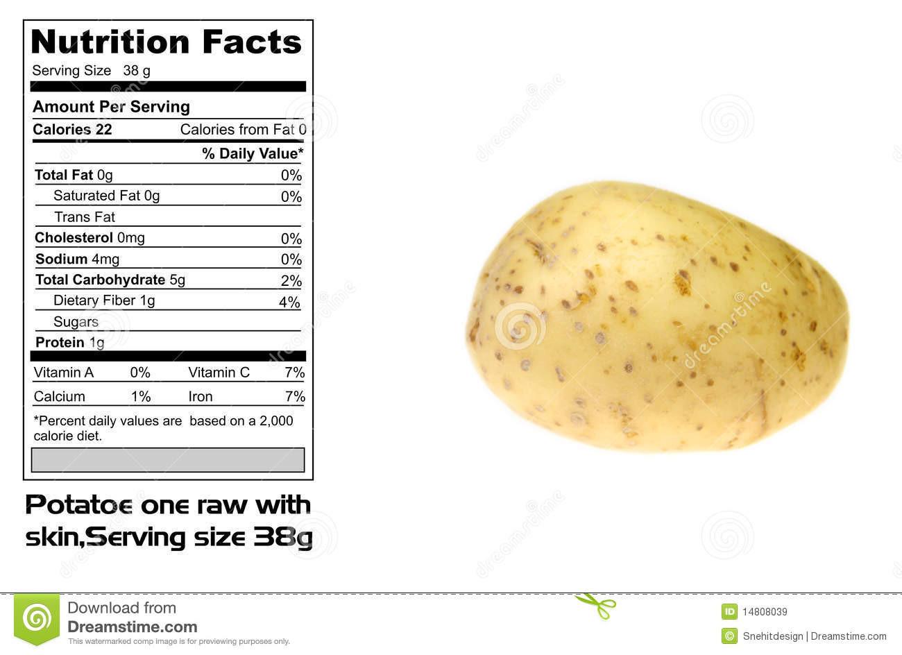 Calories In Medium Potato  Nutritional Facts Potato Stock Image Image of