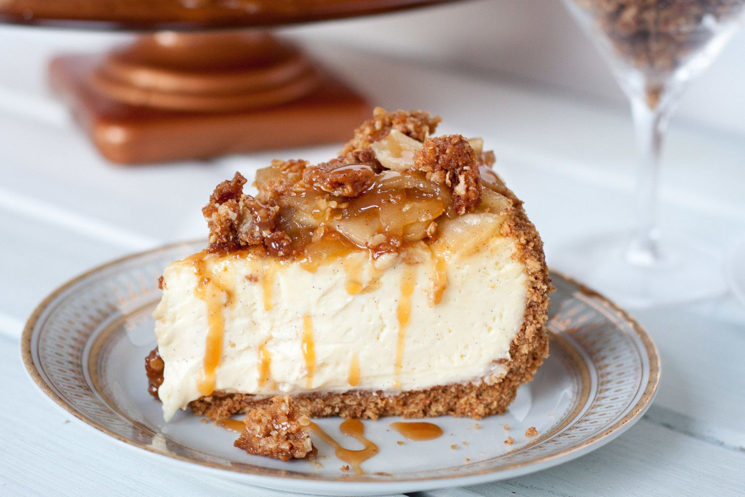 Caramel Cheesecake Recipe  Caramel Apple Cheesecake with Crunchy Streusel Topping