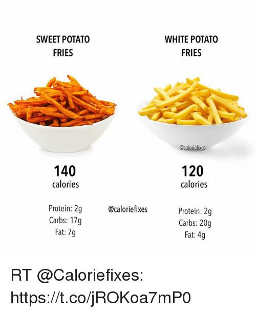 Carbs In Sweet Potato  SWEET POTATO FRIES WHITE POTATO FRIES 140 Calories 120