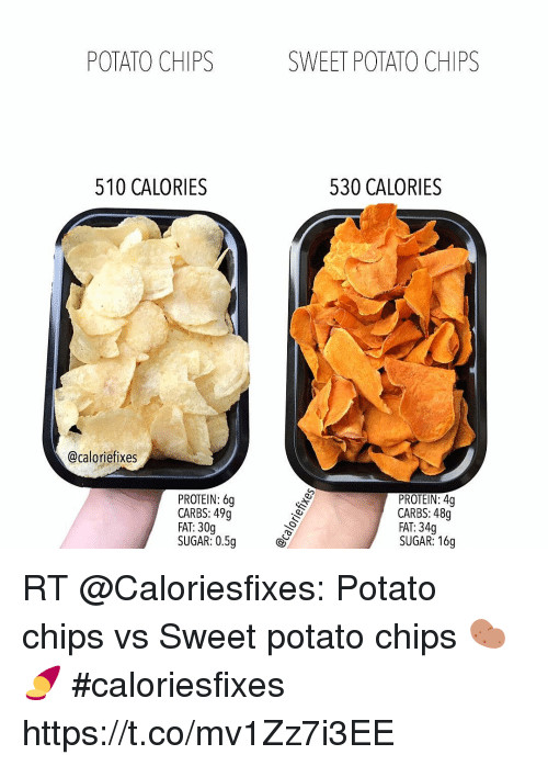 Carbs In Sweet Potato  POTATO CHIPS SWEET POTATO CHIPS 510 CALORIES 530 CALORIES
