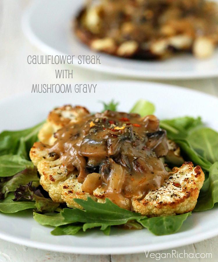 Cauliflower Recipes Vegan  Cauliflower Steaks with Mushroom Gravy Vegan Glutenfree