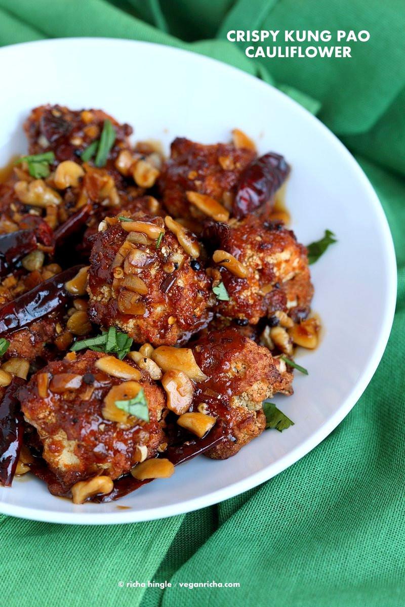 Cauliflower Recipes Vegan  Spicy Crispy Kung Pao Cauliflower Vegan Richa