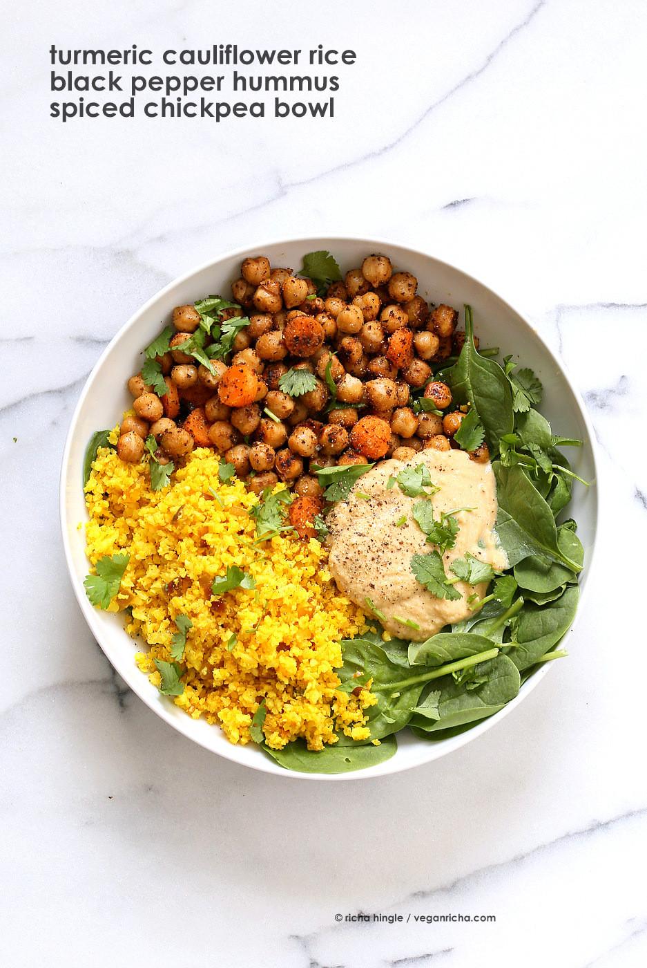 Cauliflower Recipes Vegan  Turmeric Cauliflower Rice Chickpeas Black Pepper Hummus