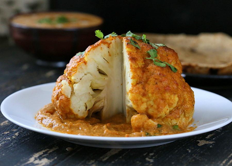 Cauliflower Recipes Vegan  Gobi Musallam Whole Roasted Cauliflower with Creamy