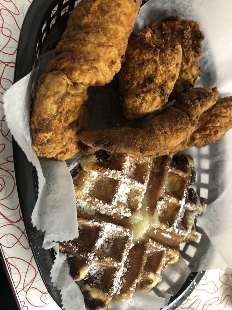 Cheeks Chicken And Waffles  Chicken tenders are huge Yelp