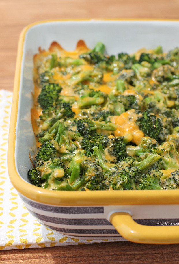 Cheesy Broccoli Casserole  Cheesy Broccoli Bake Emily Bites