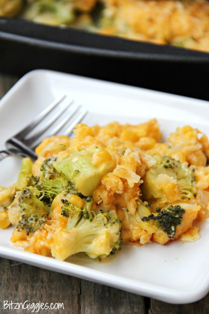 Cheesy Broccoli Casserole  Cheesy Broccoli and Corn Casserole Bitz & Giggles