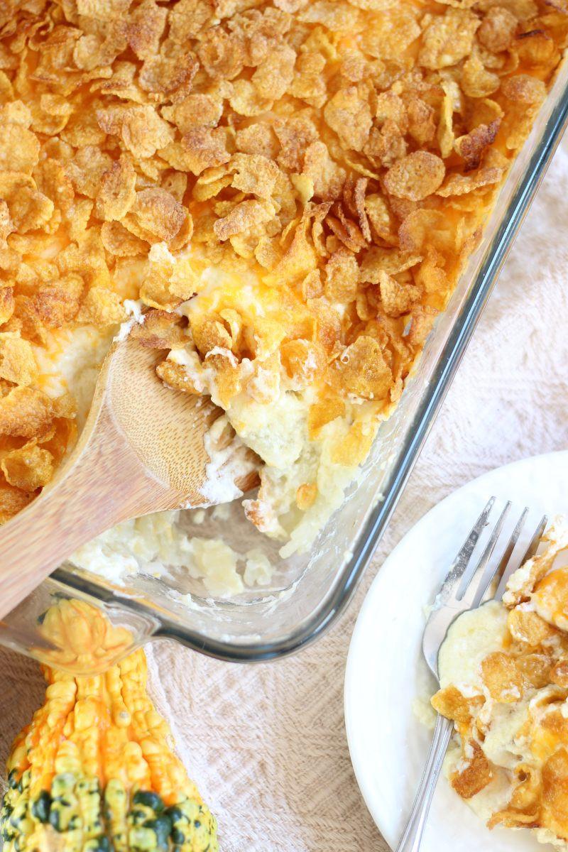 Cheesy Potatoes With Corn Flakes  cheesy potato bake with corn flakes