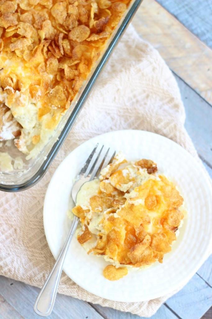 Cheesy Potatoes With Corn Flakes  Grandma s Cheesy Potatoes The Gold Lining Girl