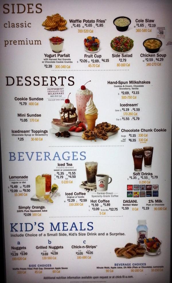 Chick Fil A Dessert Menu  Fast Food Source fast food menus and blogs Chick fil A Menu