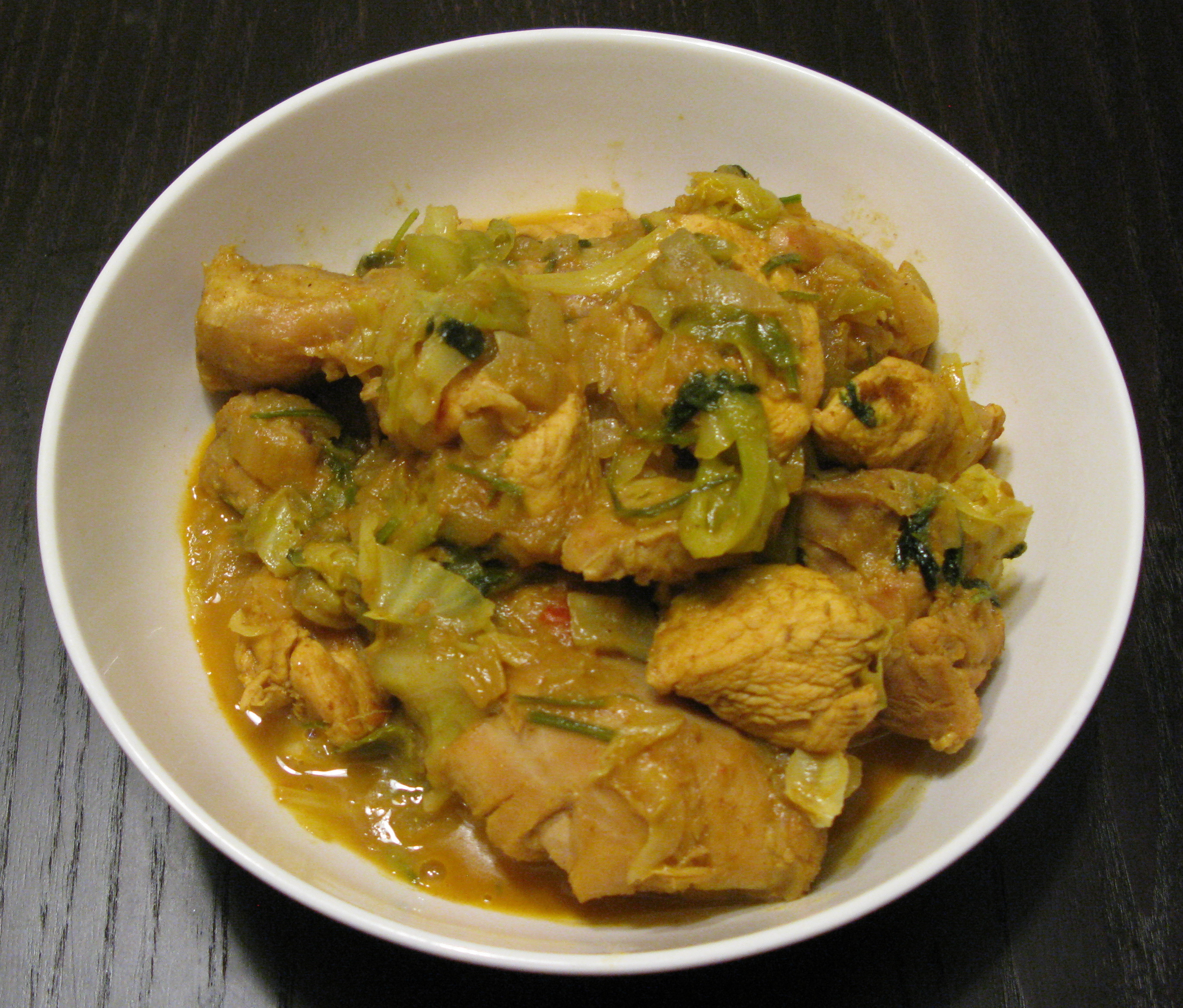 Chicken And Cabbage  curry chicken with cabbage and potatoes