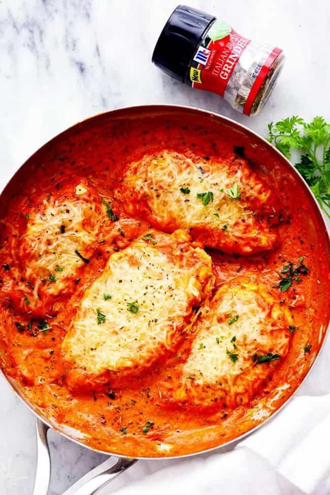 Chicken And Tomato Recipes  Creamy Tomato Italian Parmesan Chicken