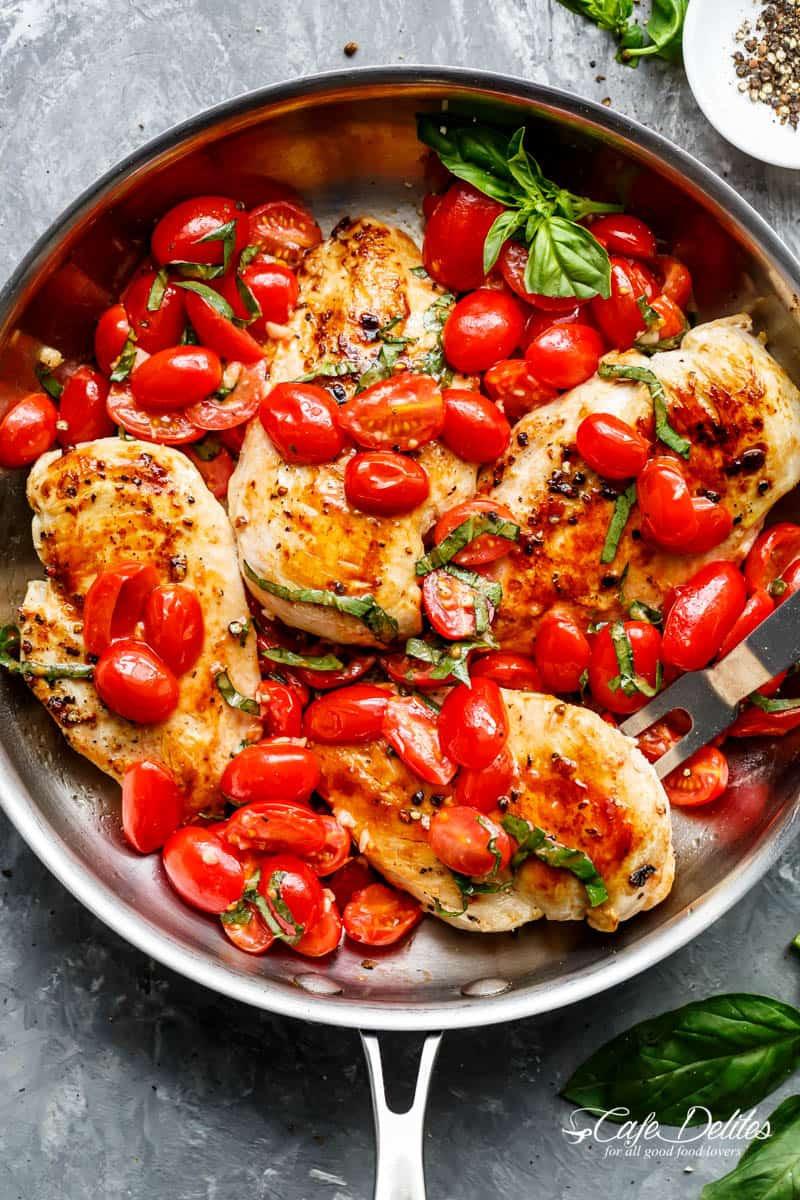 Chicken And Tomato Recipes  Garlic Tomato Basil Chicken Cafe Delites