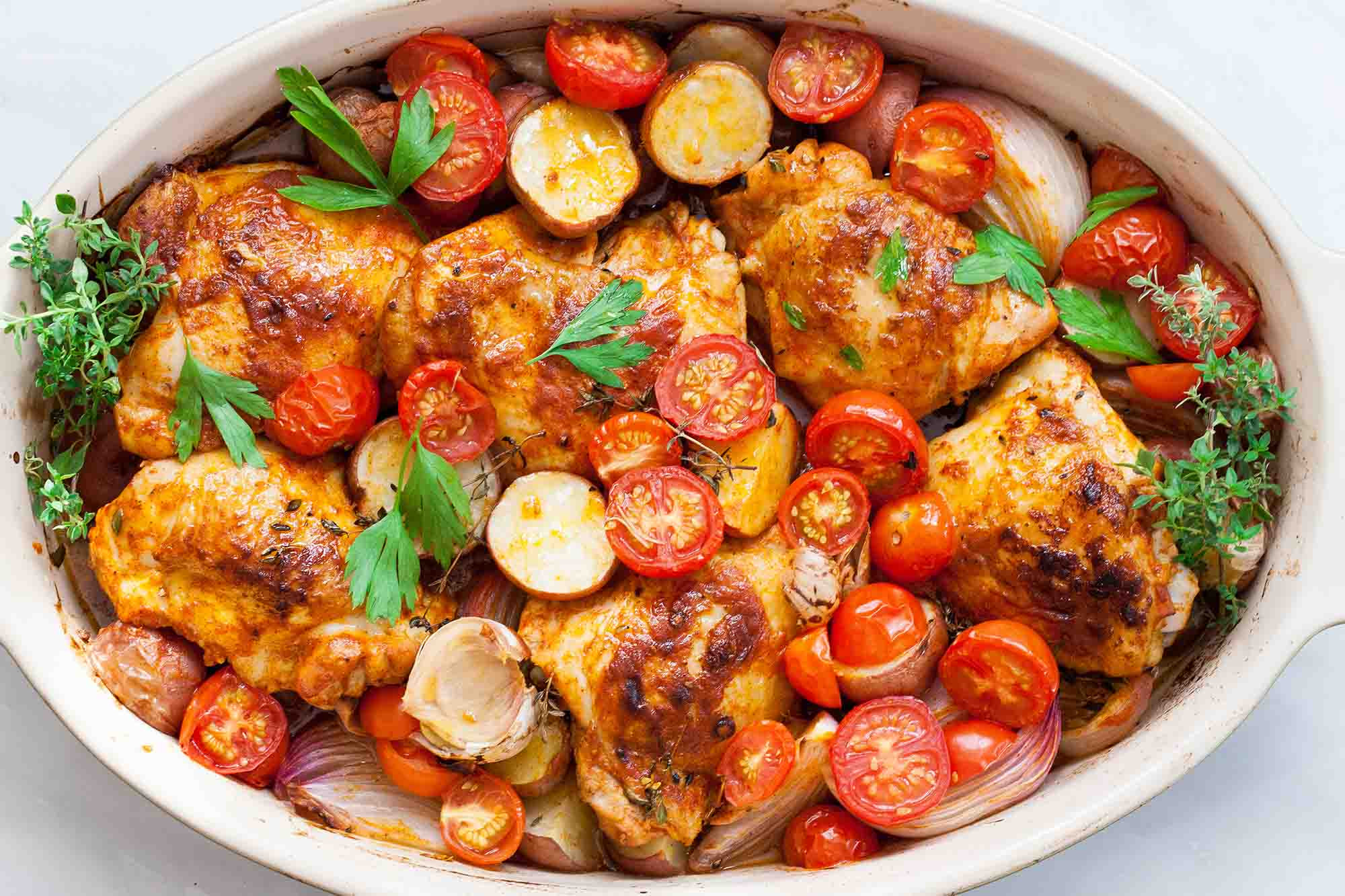 Chicken And Tomato Recipes  e Pan Paprika Chicken with Potatoes and Tomatoes Recipe