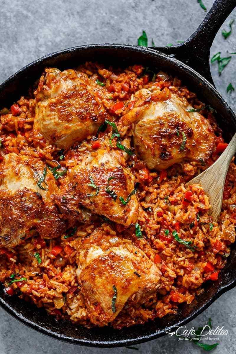 Chicken And Tomato Recipes  e Pan Tomato Basil Chicken & Rice Cafe Delites